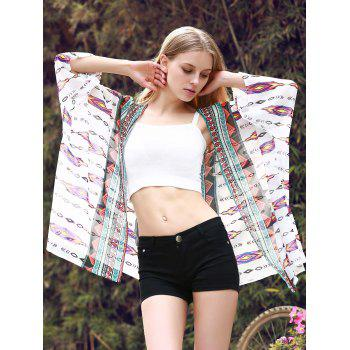 Chic 3/4 Sleeve Collarless Loose-Fitting Printed Women's Kimono - WHITE WHITE