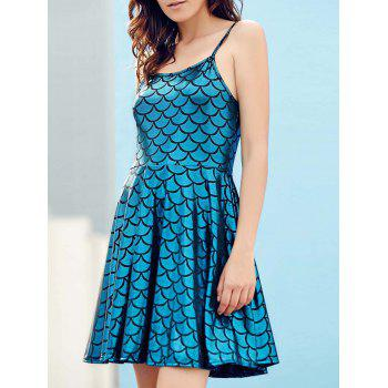 Spaghetti Strap Fish Scale Design Mini Dress