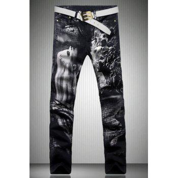 Trendy Straight Leg Figure Pattern Print Zipper Fly Men's Jeans - BLACK 32
