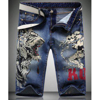 Trendy Straight Leg Tiger Pattern Printed Zipper Fly Men's Denim Shorts