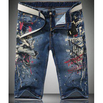 Trendy Straight Leg Wolf Pattern Print Zipper Fly Men's Denim Shorts