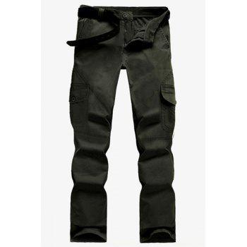 Outdoor Stereo Multi-Pocket Solid Color Straight Leg Zipper Fly Men's Cargo Pants