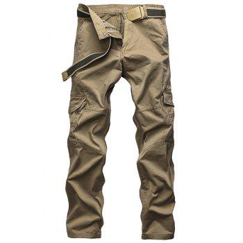Laconic Straight Leg Multi-Pocket Solid Color Men's Zipper Fly Cargo Pants