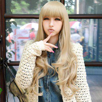 Fluffy Wavy Light Blonde Synthetic Charming Long Full Bang Capless Cosplay Wig For Women - LIGHT GOLD