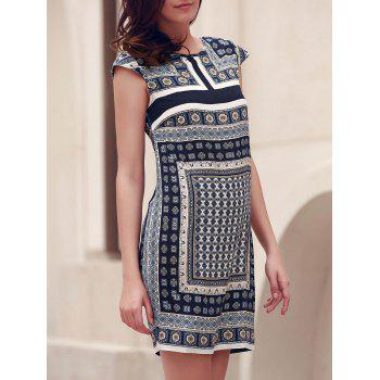 Ethnic Style Women's Round Collar Printed Short Sleeve Dress