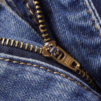 Casual Painting Zip Fly Denim Pants For Men - BLUE 32