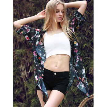 Chic 3/4 Sleeve Collarless Loose-Fitting Floral Print Women's Kimono