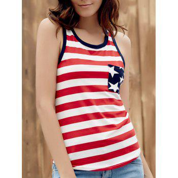 Brief Style U Neck Star Print Striped Racer Women's Tank Top