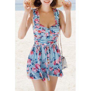 Refreshing Women's Sweetheart Neck Flower Print Two Piece Swimsuit LAKE BLUE