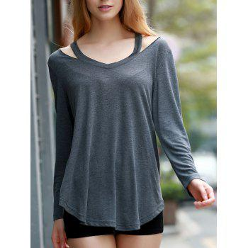 Stylish Women's V-Neck Long Sleeve Hollow Out Asymmetrical T-Shirt