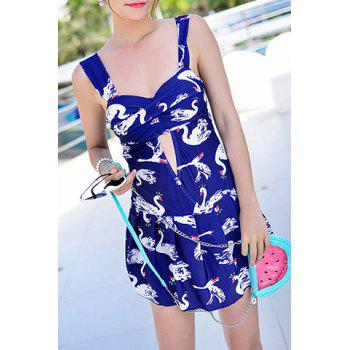 Cute Sweetheart Neck Hollow Out Swan Pattern Swimsuit For Women
