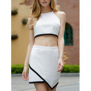 Refreshing Hit Color Sleeveless Crop Top and Irregular Skirt Twinset For Women