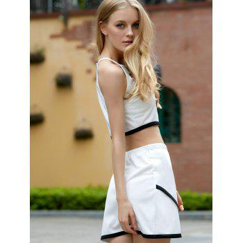 Refreshing Hit Color Sleeveless Crop Top and Irregular Skirt Twinset For Women - WHITE/BLACK WHITE/BLACK