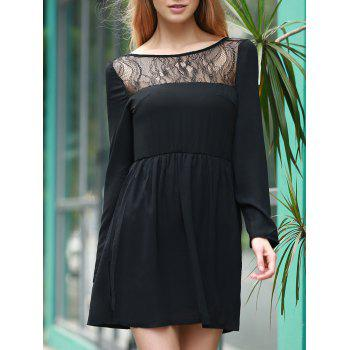Stylish Women's Jewel Neck Long Sleeve Lace Splicing Backless Dress