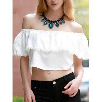 Sweet White Off-The-Shoulder Lace Hem Crop Top For Women - WHITE L