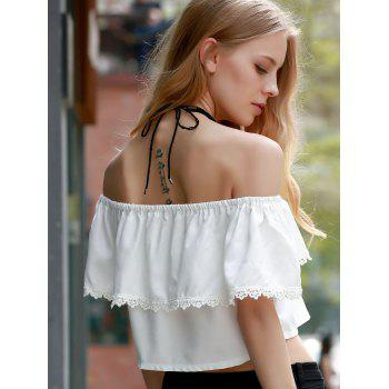 Sweet White Off-The-Shoulder Lace Hem Crop Top For Women - L L