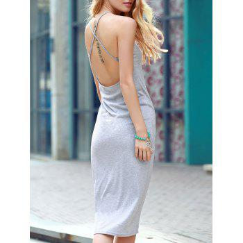 Elegant Backless Criss-Cross Gray Sheath Dress For Women
