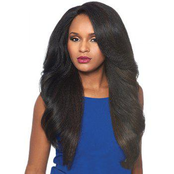 Fluffy Wavy Black Mixed Dark Brown Charming Long Side Bang Capless Synthetic Wig For Women