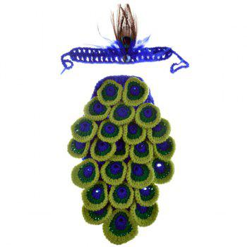 Chic Quality Manual Wool Crochet Peacock Design Vêtements pour bébé avec bandeau - multicolore
