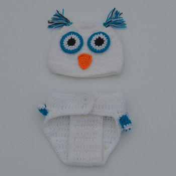 Fashionable Newborn Wool Knitting Owl Design Baby Costume Hat+Shorts Suits -  WHITE