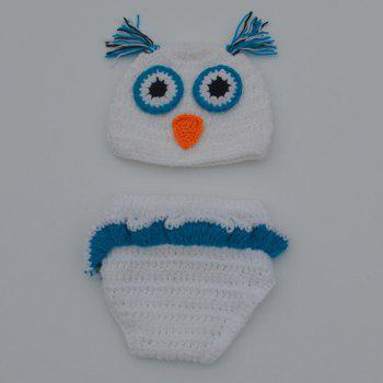 Fashionable Newborn Wool Knitting Owl Design Baby Costume Hat+Shorts Suits - WHITE WHITE