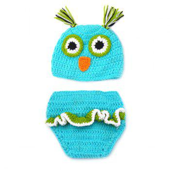 Fashionable Newborn Wool Knitting Owl Design Baby Costume Hat+Shorts Suits -  BLUE