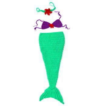 High Quality New Style Mermaid Tail Shape Newborn Handmade Crochet Knitted Costume Outfit