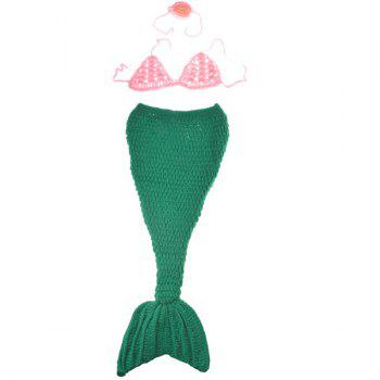 High Quality Hand Knitting Cartoon Mermaid Shape Three-Piece Baby Costume Set