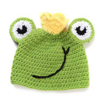 Chic Quality Handmade Crochet Knit Cap Green Frog Hat+Lotus Leaf Blanket Baby Costume Set -  GREEN