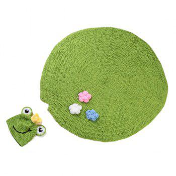 Chic Quality Handmade Crochet Knit Cap Green Frog Hat+Lotus Leaf Blanket Baby Costume Set