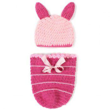 Sweet Handmade Crochet Knitted Rabbit Shape Hat Sleeping Bag Set Baby Clothes - PINK PINK