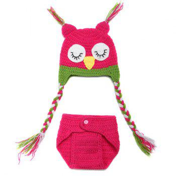 High Quality Owl Shape Handmade Crochet Knitted Beanie Hat and Shorts Set Baby Clothes - ROSE ROSE
