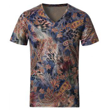 Fashionable Modish V-Neck Mix Color Paisley Printed Short Sleeve Men's T-Shirt