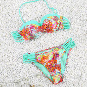 Vintage Halter Hollow Out Flower Print Women's Bikini Set