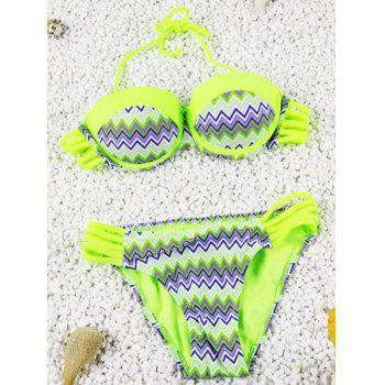 Cute Openwork Halter Chevron Stripe Design Two-Piece Bikini For Women