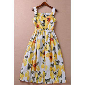 Stylish Women's Square Neck Floral Print Midi Dress - YELLOW S