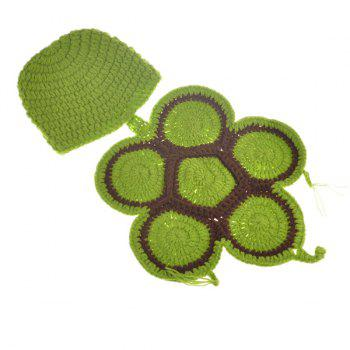 High Quality Tortoise Style Handmade Crochet Knitting Beanie Hat Clothes Set For Baby -  GREEN