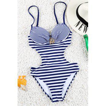 Brief Stripe Design Spaghetti Strap One-Piece Women's Swimwear