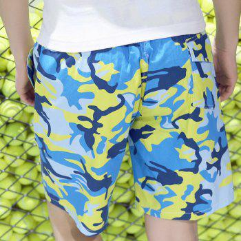 Trendy Straight Leg Camo Printed Lace-Up Men's Board Shorts - COLORMIX M