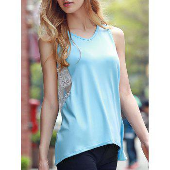 Chic Sleeveless V Neck Lace Design Women's Tank Top