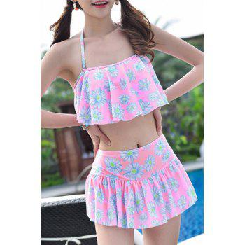 Sweet Style Flouncing Floral Print Women's Tankini Set