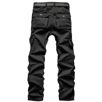 Loose Fit Straight Leg Multi-Pocket Solid Color Men's Zipper Fly Cargo Pants - BLACK 30