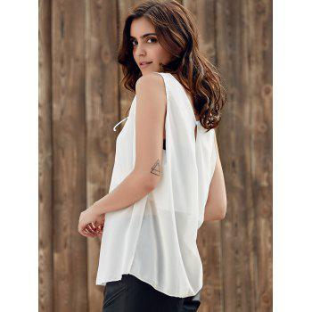 Stylish Scoop Neck Sleeveless Lace-Up Chiffon Black Women's Tank Top - WHITE 5XL