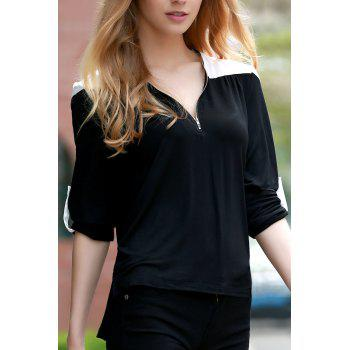 Trendy V-Neck Long Sleeve Color Block T-Shirt For Women