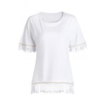 Trendy Round Collar Half Sleeve Tassels Spliced T-Shirt For Women