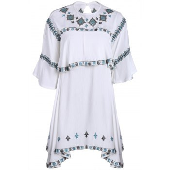 Stylish Round Collar Half Sleeve Embroidery T-Shirt For Women