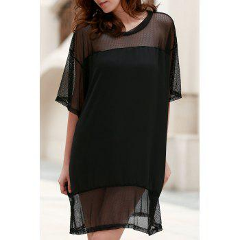 Stylish Sheer Mesh Design Women's Loose T-Shirt