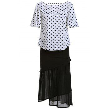 Stylish Polka Dot T-Shirt and Mermaid Skirt Twinset For Women