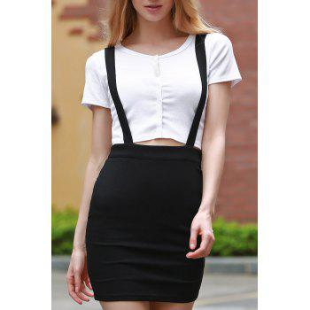 Trendy High Waisted Black Suspender Skirt For Women