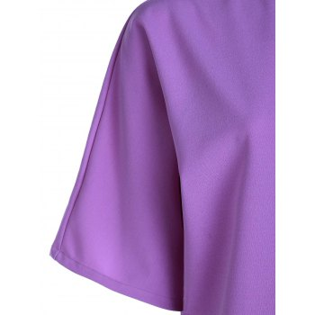 Trendy 3/4 Sleeve Round Collar T-Shirt + Solid Color High-Waisted Skirt Women's Twinset - LIGHT PURPLE M